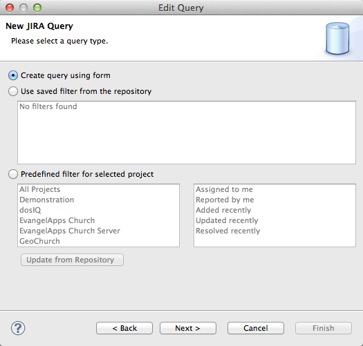 create a jira query